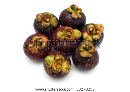 Seven mangosteens put together isolated on white background.