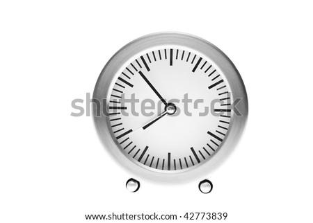 seven minutes to eight on alarm clock - stock photo