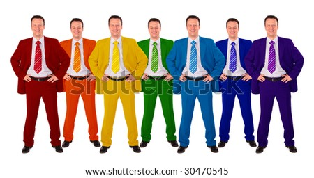 seven same businessmen in different color suits collage