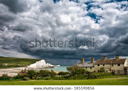 SEVEN SISTERS COUNTRY PARK, EAST SUSSEX/UK - JUNE 12 : Storm brewing over the Seven Sisters in East Sussex on June 12, 2008