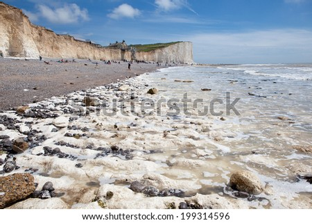 Seven Sisters National Park, view of the cliffs and the beach on a low tide, East Sussex, England.  - stock photo