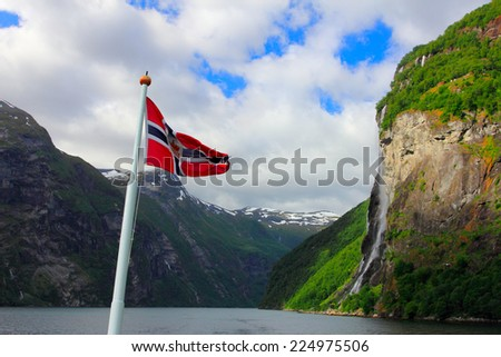 seven sisters waterfall on geirangerfjord, norway - stock photo