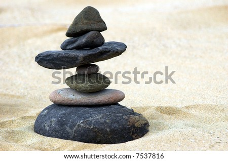 seven stones in perfect balance - stock photo