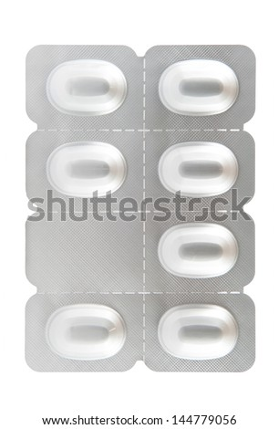 Seven tablet aluminum blister pack show weekly medicine - stock photo