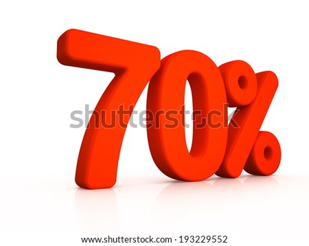 seventy percent symbol on white background 3D