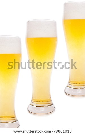 Several beer glasses isolated on white