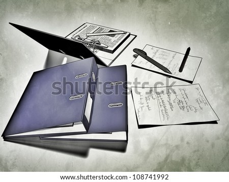 Several binders accompanied with notes, referring to concepts such as work, administration, reports, as well as management tasks - stock photo