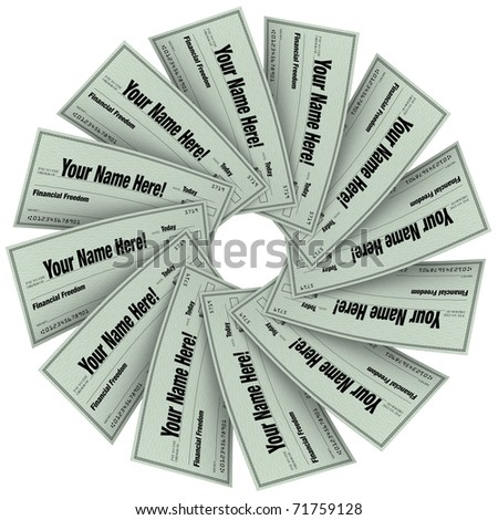 Several blank checks in a circular spiral pattern, symbolizing financial freedom