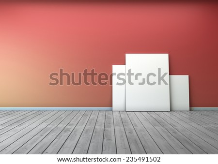 several blank picture in the red wall room and wooden floor  - stock photo
