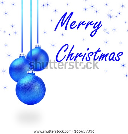 Several blue christmas balls with sample text
