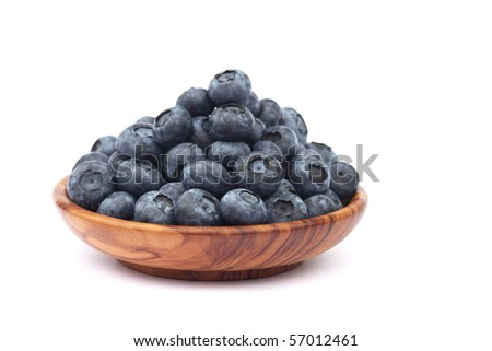 several blueberries on white background