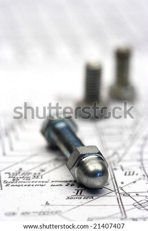 several bolts close up with shallow Dof - stock photo