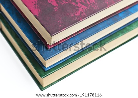 several books on a white background - stock photo