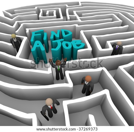 Several business people wander through a maze looking for a job - stock photo