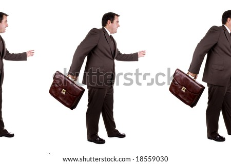 several businessman in line one after eachother - stock photo