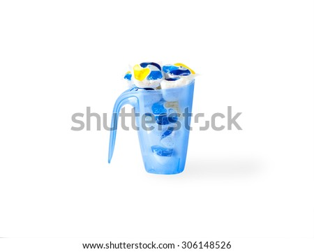 several capsules dishwasher soap isolated on white background with shadow - stock photo