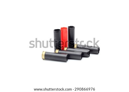several cartridges for hunting rifle - stock photo