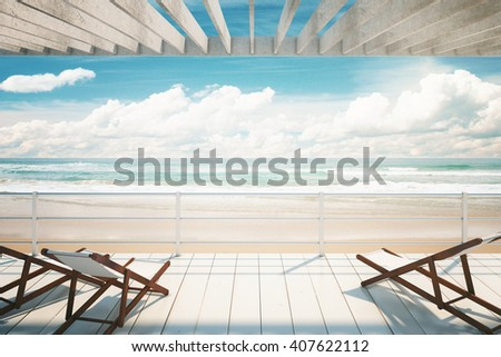 Several chaise longues under awning at the seaside. 3D Rendering - stock photo