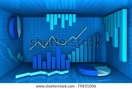 several charts in different style (pie, bar and line) in a box with a grid texture (3d render) - stock photo