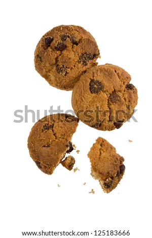 Several chocolate chip cookies - stock photo