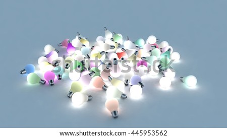 Several colored light bulbs on the ground. Colored lights are powered on. 3D Rendering - stock photo