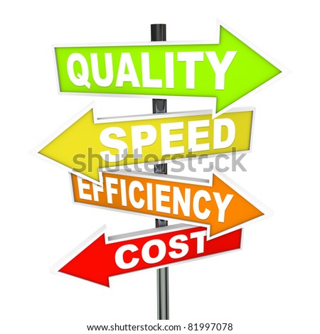 Several colorful arrow signs pointing in different directions representing different priorities in managing production processes - quality, speed, efficiency, and cost - stock photo