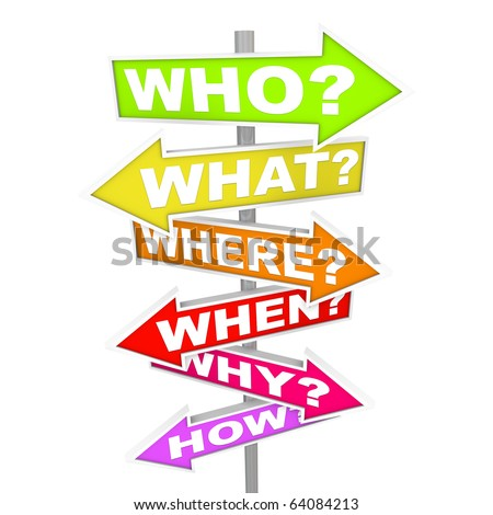 Several colorful arrow street signs with the common questions - who, what, where, when, why, how - stock photo