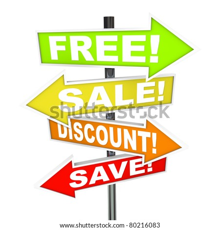 Several colorful arrow street signs with words Free, Save, Discount, Sale representing advertising messages a store or retail merchant advertises to lure customers in a capitalist marketplace - stock photo