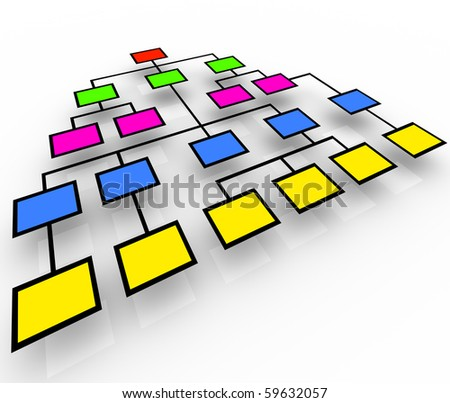 Several colorful boxes in an organization chart - stock photo