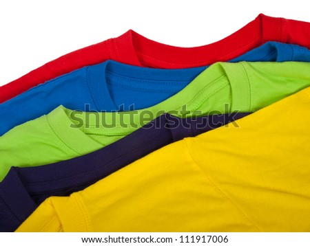 several colorful t-shirts isolated on white - stock photo
