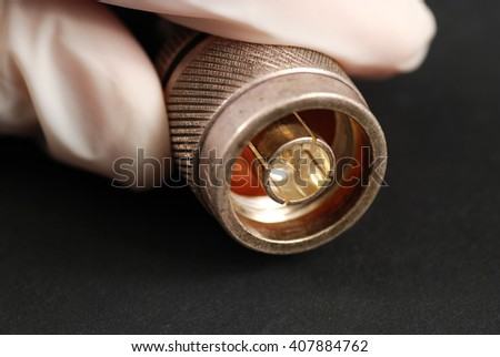 several connectors for cables used in telecommunication applications - stock photo