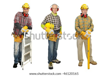 Several construction workers isolated in white - stock photo