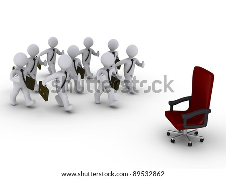 Several 3d businessmen run towards a red chair - stock photo