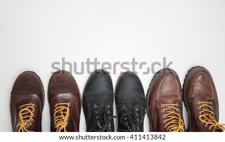 Several designs of men's boots