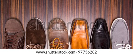 Several designs of men's shoes - stock photo