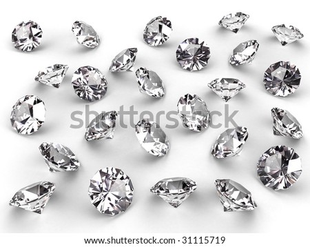 Several diamonds with realistic soft shadows on white. High resolution 3D image - stock photo