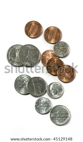 Several different American coins isolated on a white background. - stock photo