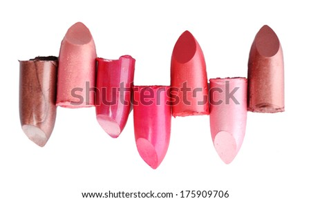 Several different lipsticks isolated on white  - stock photo