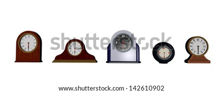 Several different old clocks in white background