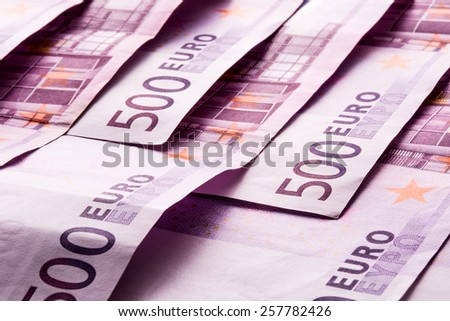 Several 500 euro banknotes are adjacent. symbolic photo for wealth