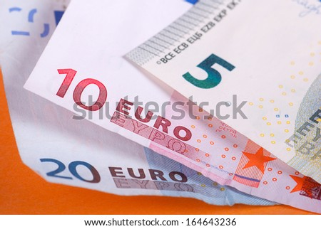 Several euro banknotes of different values