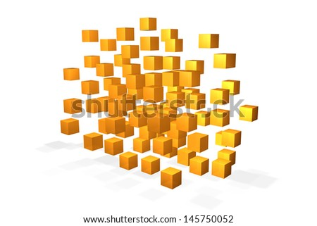 Several floating yellow cubes on white background