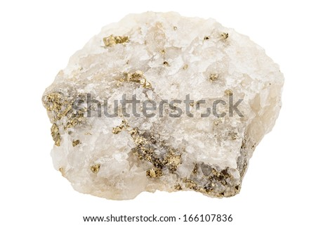 Several fools gold nuggets (pyrite) embedded in white quartz crystal - stock photo