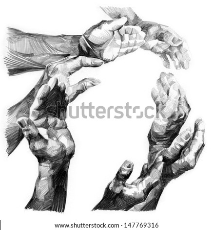 several hands - stock photo