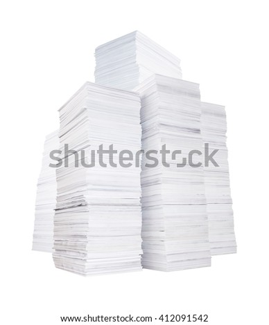 Several high stacks of paper isolated on white background - stock photo