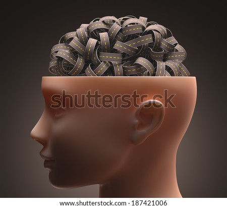 Several highways intertwined forming a human brain. Concept of confused mind. Concept of the complexity of the human brain. Clipping path included. - stock photo