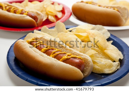 Several hot dogs on colored plates on a gingham background