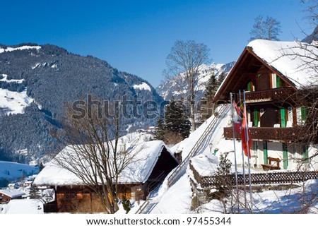 Several hotels near the Grindelwald ski area on the mountain. Switzerland