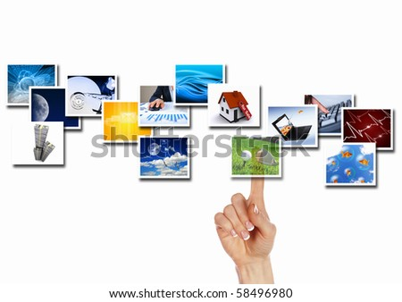Several images from the current white background - stock photo