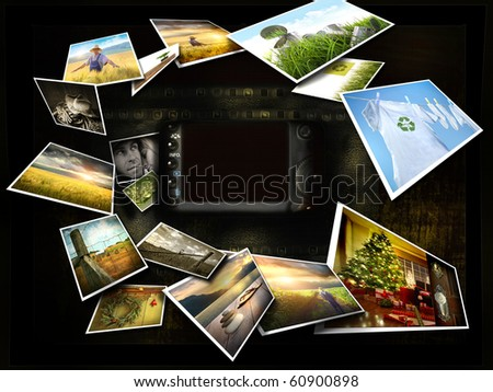 Several images streaming around a camera view finder - stock photo